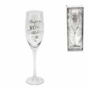 80th Birthday Stars Champagne Flute Glass Gift