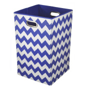Modern Littles Folding Laundry Basket, Bold Blue Chevron