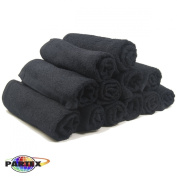 Partex Royale Bleach Guard Salon Towels in Black, 12 Pack