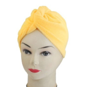 FOREVER YUNG Yellow Soft Microfiber Hair Dry Drying Towel Cap for Women