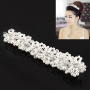Lady White Faux Pearl Crystal Bridal Wedding Prom Party Headwear Head Tiara Comb Hairpin