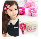 Cuhair(tm) Baby Same As Picture 8pcs (4pcs Hair Pin and 4pcs Hair Rope) 3.5cm Flower for Girl Kids Chlidren Baby Hair Pin and Hair Rope Hair Accessories