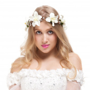Valdler Lily Flower Crown with Adjustable Ribbon for Wedding Festivals