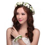 Valdler Flower Headband Wedding Hair Wreath Floral Crown with floral bracelet White