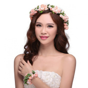 Valdler Flower Headband Wedding Hair Wreath Floral Crown with floral bracelet Pink