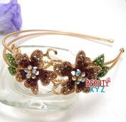 BROWN Crystal Headband 2 flowers design new fashion