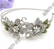 Silver colour Crystal Headband 2 flowers design new fashion