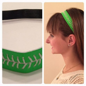 Fabulicious Neon Green White Stitch Leather Headband© - Stitching Seam Sports softball baseball fast pitch