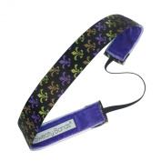 Sweaty Bands Fitness Headband - 2.5cm Wide Fleur de Lis Black, Multi