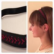Fabulicious Black Red Stitch Leather Headband© - Stitching Seam Sports softball baseball