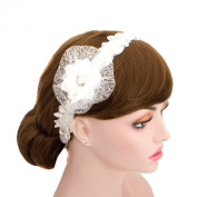 Wedding Organza Rhinestone Lace Ribbon Headband Flower Mesh Headpiece