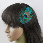 Nero Women's Handmade Peacock Feather Fascinator Headpiece, Fascinator Hair Clip