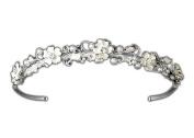 Elegance Collection - Petite Wedding Headband Floral Bridal Tiara, Simulated Pearl & Crystal