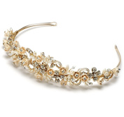 Elegance Collection - Gold Champagne Flower Bridal Tiara Wedding Headband with Crystals