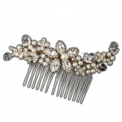 Meredith Antique Style Swarovski Crystal & Rhinestone Side Wedding Bridal Occasion Gold Comb