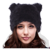 Winter Warm Head Ski Cap Women Cat Ear Hat Russian Cossack Rabbit Fur Knitted Hat