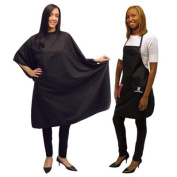 SALONCHIC Ultra Light Crinkle Nylon Styling Cape & Salon Apron Set CA-4051