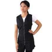JMT Beauty Black Zipper Sleeveless Salon Smock, Large