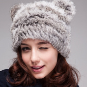 Women Cat Ear Hat Russian Cossack Rabbit Fur Knitted Hat Head Ski Cap Winter Warm