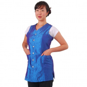 Sleeveless Ocean Blue Salon Smock, Extra Large