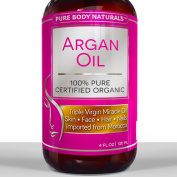 Argan Oil For Hair, Face, Skin & Nails - HUGE 120ml Bottle - Triple Purified Moroccan Argan Oil - Perfect Gift for Men & Women, 100% PURE & ECOCERT Certified - Therapeutic for All Skin Conditions - Very Lightweight & Delicate Oil gives INSTANT results  ..