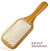 Natural Bamboo Paddle Cushion Massage Hair Brush, Ball-Tipped Wooden Bristles