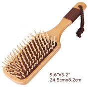 Natural Wooden Massage Hair Brush, Ball-Tipped Wooden Bristles