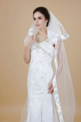 Nero Women's 2 Layers Ivory Chapel Length Bridal Wedding Veils with Ribbon Edge and Comb