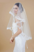 Nero Women's 1 Tier Ivory Beaded Elbow Length Bridal Wedding Veil with Sequins Decorated