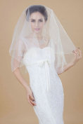 Nero Women's 1 Tier Beaded Elbow Length Bridal Wedding Veil with Pearls Decorated