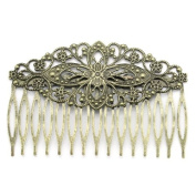 10 Pcs - Antique Bronze Flower Filigree Combs 8.3cm x 5.4cm , Hair Accessory, Hair Combs, Large Hair Combs, Hair Findings