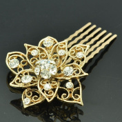 Gold Tone Rhinestone Crystal Flower Hair Comb Headband Women Prom Jewellery XBY035