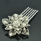 Bridal Wedding Flower Hair Comb Headband Rhinestone Crystals XBY035