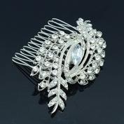 Pretty Flower Hair Comb Pieces Bridesmaid Bridal Clear Rhinestone Crystals 4211