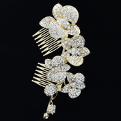 Gold Tone Bridal Orchid Flower Hair Comb Accessories Rhinestone Crystal FA0323E
