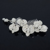 Bridal Wedding Orchid Flower Hair Comb Tiara Clear Rhinestone Crystal FA0323E