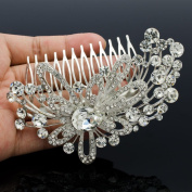 Rhinestone Crystal Fireworks Flower Hair Comb Headband Women Bridal Jewellery 4621