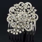 Super Wedding Rhinestone Crystal Heart Bouquet Hair Comb Headband For Women 4660