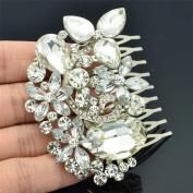 Chic Clear Flower Hair Comb Headband for Bridal Wedding Rhinestone Crystals 6013