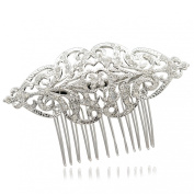 Europe Imperial Style Flower Hair Comb Wedding Clear Rhinestone Crystals XBY104
