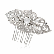 Clear Austrian Crystal Flower Hair Comb Hair Jewellery Women Bridal Wedding 1454R