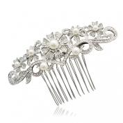 Pretty Imitation Pearl Flower Hair Comb Wedding Clear Rhinestone Crystal 1448R1