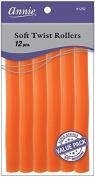 Annie Soft Twist Rollers, Orange, 18cm , 12 Count