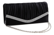 Chicastic Pleated Satin Wedding Evening Bridal Clutch Purse With Rhinestones