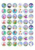 48 Peppa Pig and Friends Edible Wafer Paper Cake Toppers