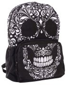 Mexican Skull Backpack | Gothic Bag | College / Travel / Leisure bag / Ideal School Bag | Heavy Built | EMO Rucksack | Gothic Backpack | Black | Goth Laptop Bag | Punk Fashion