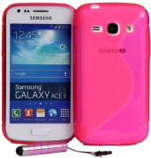 Connect Zone® Pink S-Line Gel Skin Cover For Samsung Galaxy Ace 3 S7270 + Screen Protector & Mini Stylus