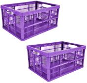 2 x 32L Plastic Folding Storage Container Basket Crate Box Stack Foldable Portable PURPLE