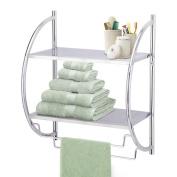 Ancdream 2 Tier Modern Chrome Wall Mounted Bathroom Shelf Unit Towel Rail Rack