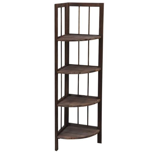 tinxs brown 4 tier fordable pine wooden corner shelf